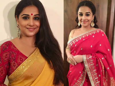 6 red sari and blouse combinations of Vidya Balan that are perfect for Durga Puja festivities!