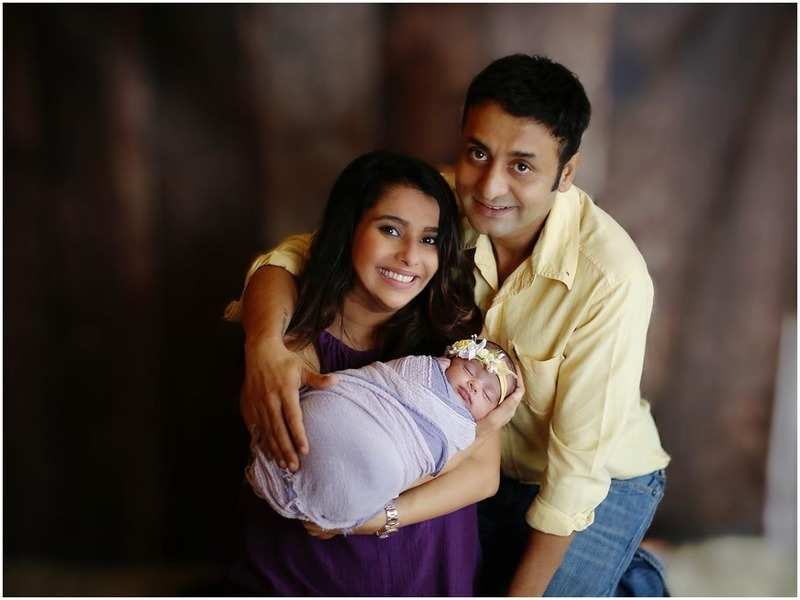 Pranitaa Pandit with her husband Shivi Pandit and their baby girl
