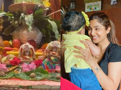 Shilpa's daughter's first 'kanya puja'
