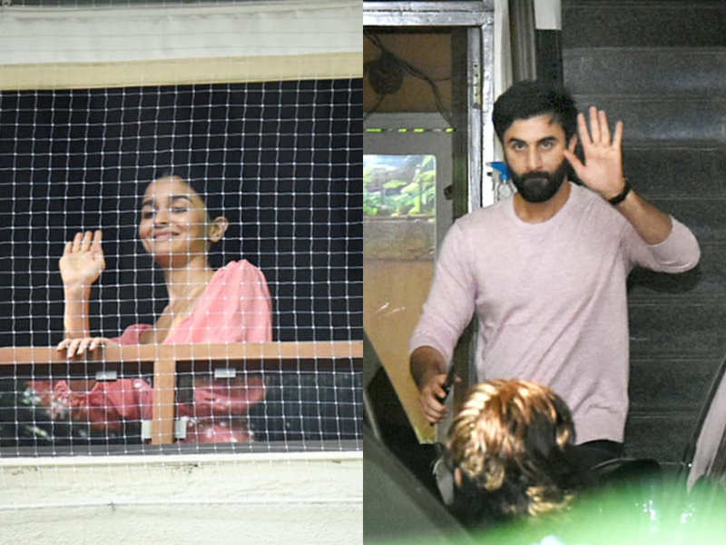 Lovebirds Alia Bhatt and Ranbir Kapoor exchange cute glances while they see off each other