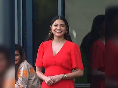 Mom-to-be Anushka stuns in a chic red dress