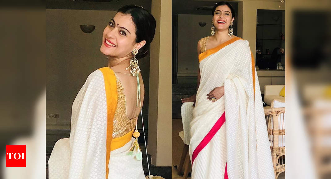 Kajol's white sari with yellow and pink border is our festive pick for the week – Times of India
