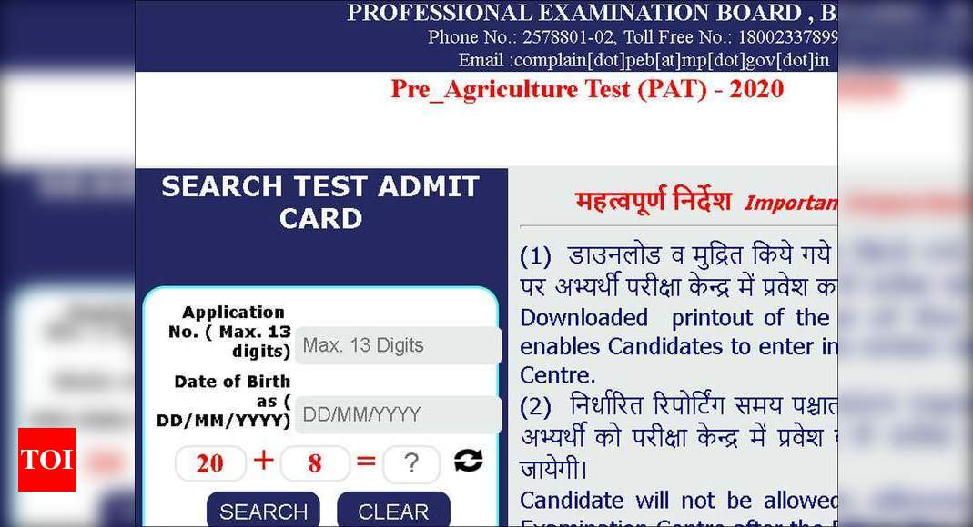 MP PAT Admit Card 2020 released, download here - Times of ...