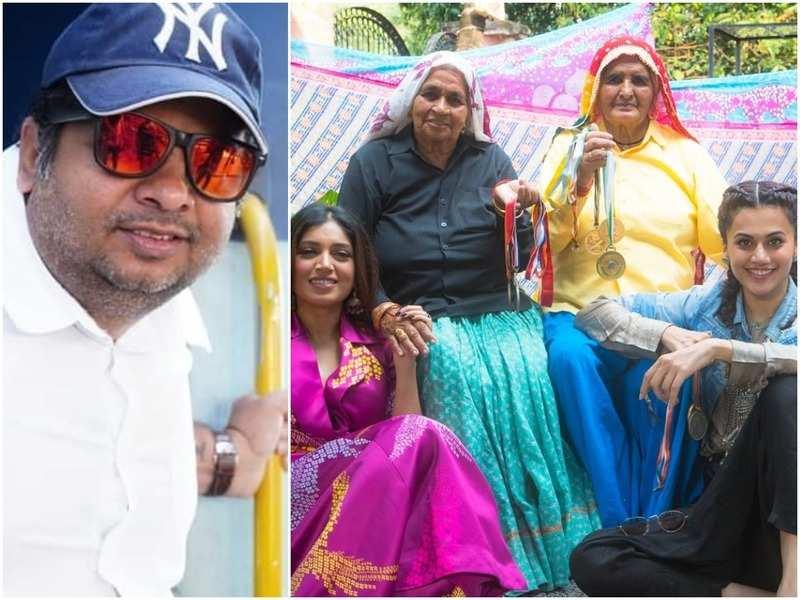 Tushar Hiranandani; Bhumi Pednekar and Taapsee Pannu with Shooter Daadis