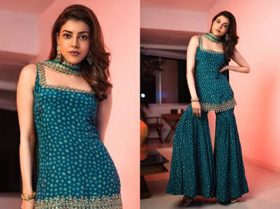 Kajal Aggarwal sizzles in a hot pre-wedding gharara