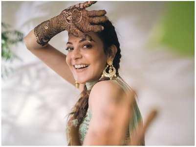 Kajal shares a pic from her Mehendi ceremony