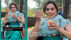 Taapsee Pannu isn't bothered about ruining her makeup when she digs into homemade food on sets, here's proof!