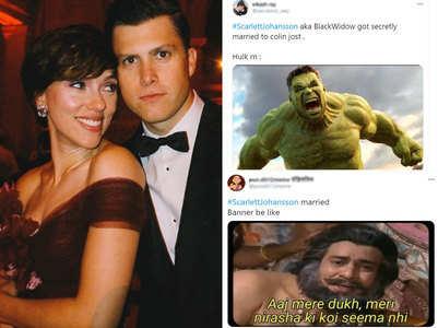 Scarlett weds Colin: Fans share Hulk memes
