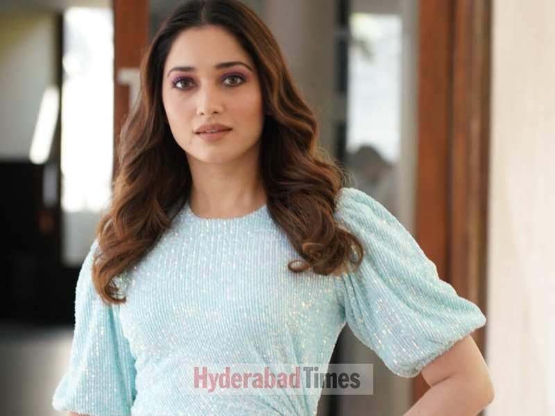 Spotted: Tamannaah Bhatia shimmers in a pastel blue knotted dress at an event in the city