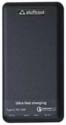 Stuffcool Type-C 18W Power delivery 10000 mAh Li Polymer Power bank with Qualcomm Quick Charge 3.0 (QC3.0) Textured Housing (Black)