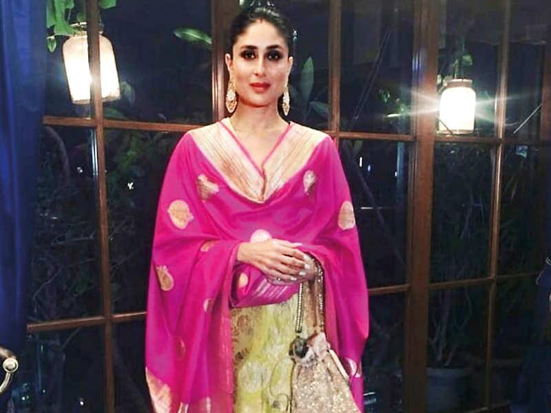 Give a colourful twist to your old kurta-pyjama by adding a Banarasi dupatta in a contrasting colour. Like Kareena Kapoor Khan, carry a matching potli