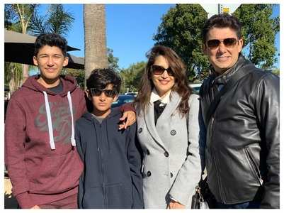 Madhuri shares a pic of her hubby and kids