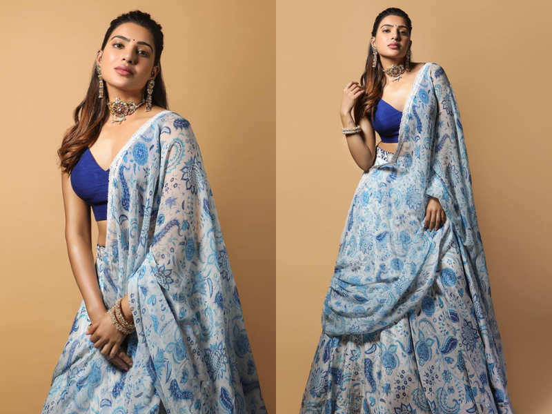 Samantha Akkineni wore the hottest blue printed lehenga and you can't miss it