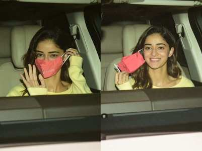 Photos: Ananya removes her mask for paparazzi