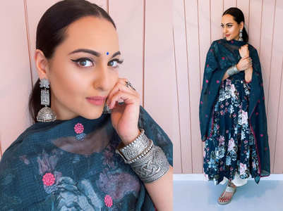 Sonakshi Sinha floral anarkali + palazzo pants is all about comfortable fashion!