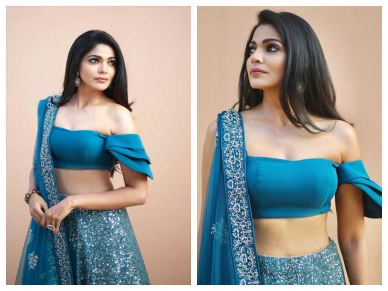 Photos: Pooja Sawant looks stunning as she dolls up in a blue lehenga