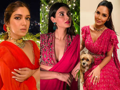 Bhumi, Diana and Esha wore red saris by the same designer