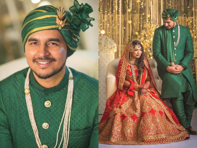 This Bangladeshi groom from USA wore a dashing green sherwani by an Indian designer for his regal wedding