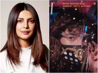 Pic: Priyanka sports a face mask and shield