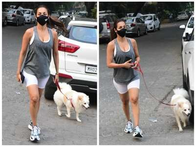 Malaika steps out for a walk with her pet