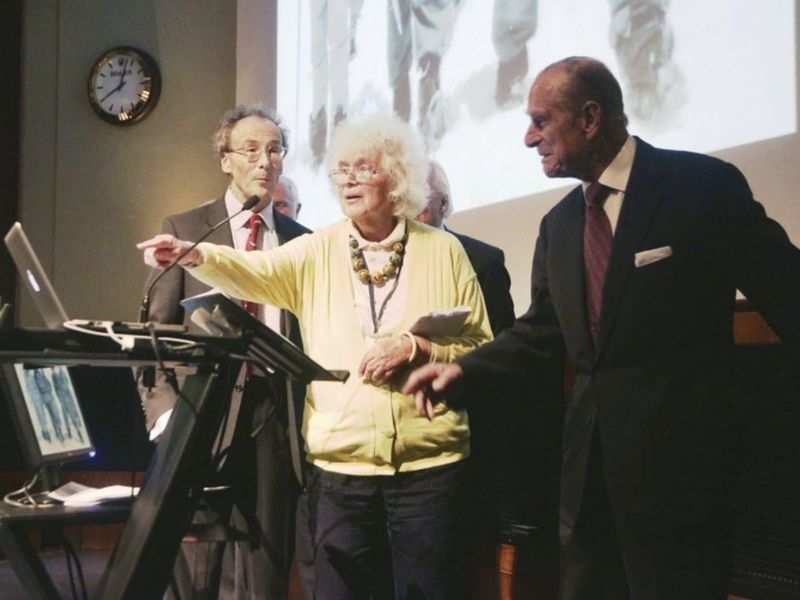 Photo: In this May 29, 2013 file photo, travel writer, journalist and author, Jan Morris, center, with the Duke of Edinburgh, right, during a reception to celebrate the 60th Anniversary of the ascent of Everest, at the Royal Geographical Society in London. Morris, the celebrated journalist, historian, world traveler and fiction writer who became a pioneer of the transgender movement, has died at 94. Her literary representative, United Agents, says Morris died in Wales on Friday, Nov. 20, 2020. (Yui Mok/PA via AP, file)