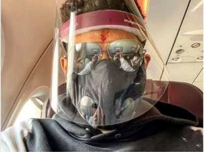 Pic: Abhishek sports a face mask and shield