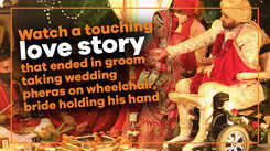 Love story of a groom on wheelchair and bride holding his hand in pheras