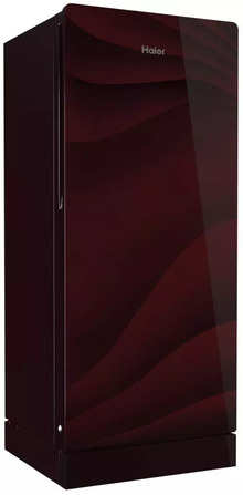 Haier 195 litres 4 Star Single Door Refrigerator, Wave Glass Red HRD-1954PWG-E
