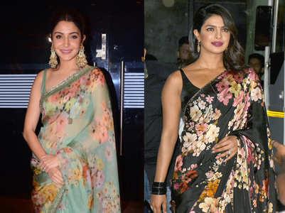 Priyanka Chopra's black sari or Anushka Sharma's green sari: Who wore the floral drape better?