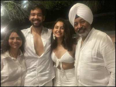 Rakul and her family twin in white