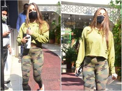 Pics: Malaika stuns in a crop top & leggings