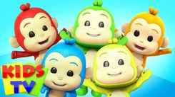 Nursery Rhymes in English: Children Video Song in English 'Five Little Monkeys - Five little Babies'
