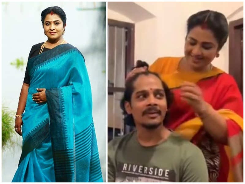 Uma Nair enjoys a candid moment with reel brothers on the sets of 'Indulekha'