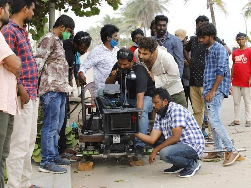 Vishwak Sen shoots for a song from his next film Paagal in Pondicherry