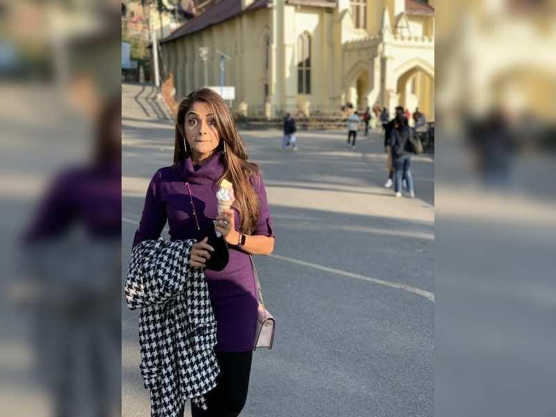 Asmita Sood enjoys her favourite ice-cream at the Ridge Maidan in Shimla