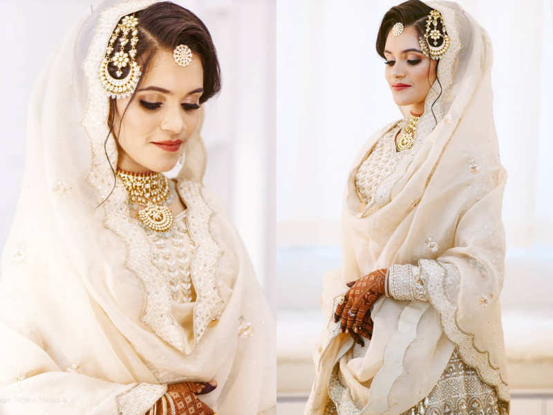 This bride wore a beautiful ivory gold lehenga for her Nikah ceremony