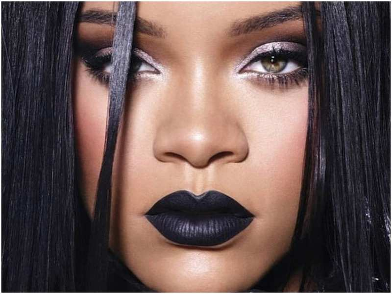 Rihanna shared a photo of herself in black lipstick on her Insta account (Pic: @badgal__rihanna/Instagram)