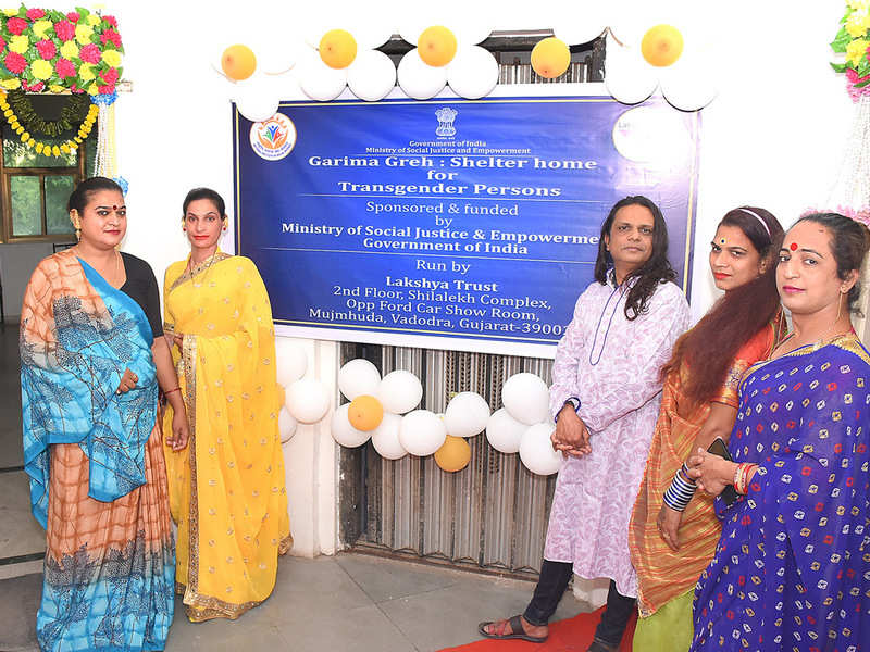Sylvie Merchant with members of the transgender community at the recently inaugurated shelter home in Vadodara