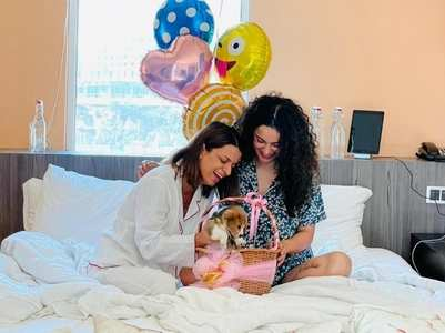 Pic: Kangana gifts Rangoli a puppy on b'day