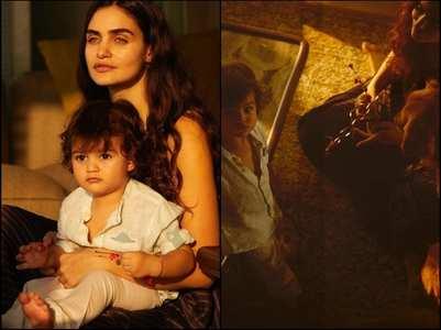 Gabriella shares pics with son Arik