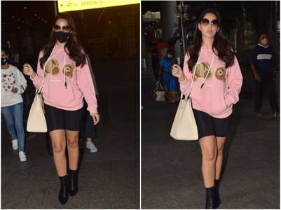 Nora Fatehi gets papped at the airport