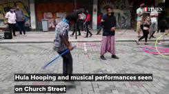 Hula hooping and musical performances greet city folk on Bengaluru's Church Street