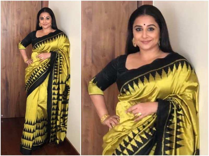 Vidya Balan sporting the sari that she has offered for auction