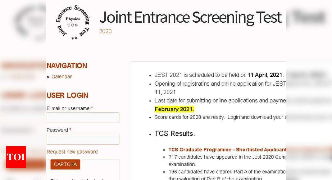 JEST 2021 application process to begin from Jan 11, exam on April 11 – Times of India