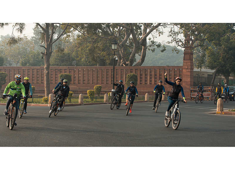 Fifty cyclists participated in the cyclothon, which started from Khan Market and covered some landmarks like Rashtrapati Bhavan in central Delhi