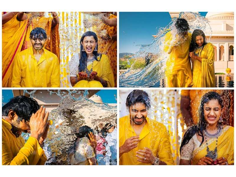 PICS: Niharika Konidela and Chaitanya Jonnalagadda's wedding day began with a splash