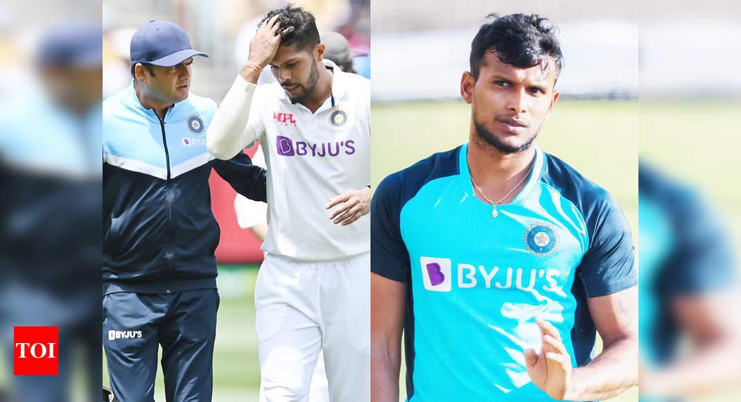 t natarajan:  India vs Australia: T Natarajan replaces injured Umesh Yadav in Test squad | Cricket News - Times of India