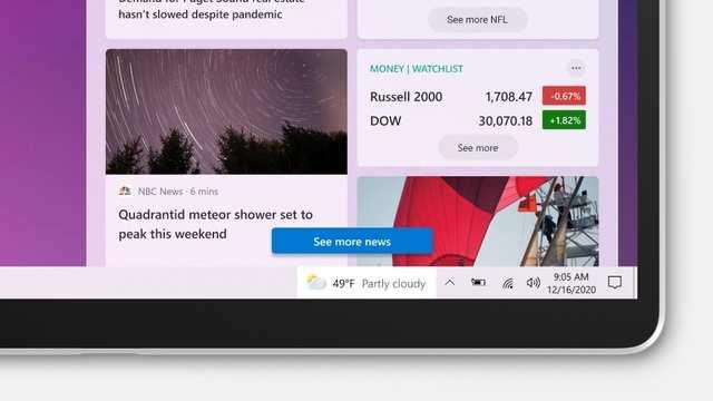Microsoft is adding news and interest widget to Window 10 taskbar