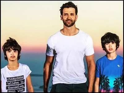 Hrithik enjoys a cycle ride with his sons