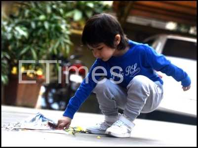 PICS: Taimur spotted playing with a kite
